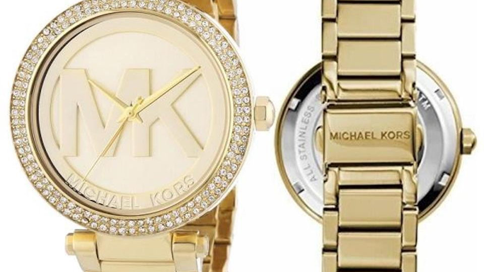 Michael Kors Runway Crystal Studded Gold Plated