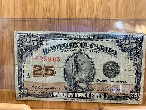 Dominion of Canada 25 cent note 1923