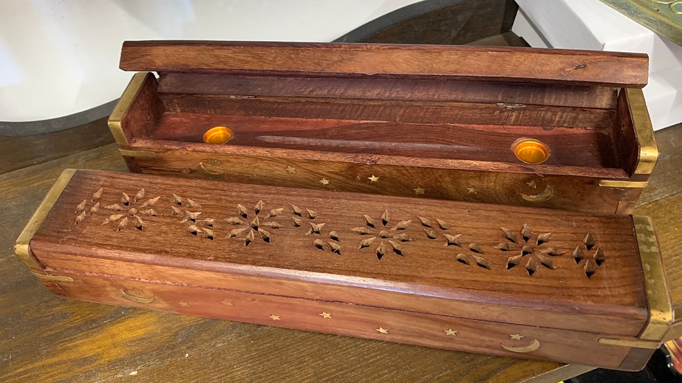 Incense Coffin Wooden with inlay moon & Stars