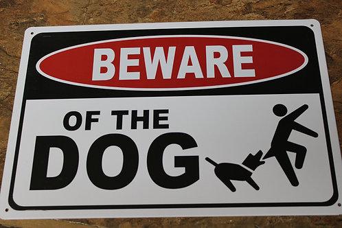 Metal Wall Sign; Beware of Dog