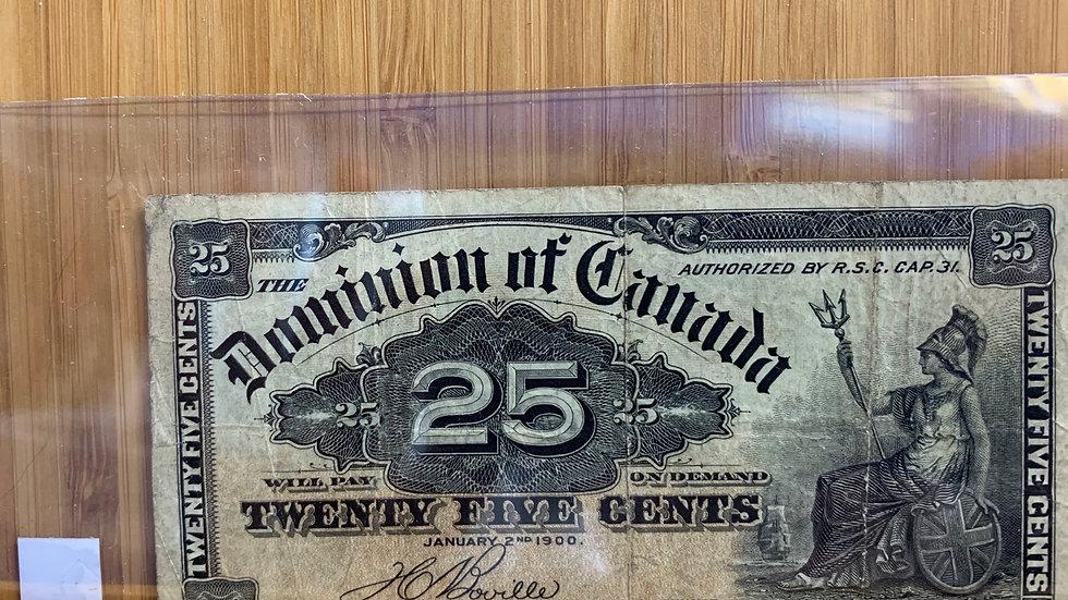 Dominion of Canada 25 cent note 1900
