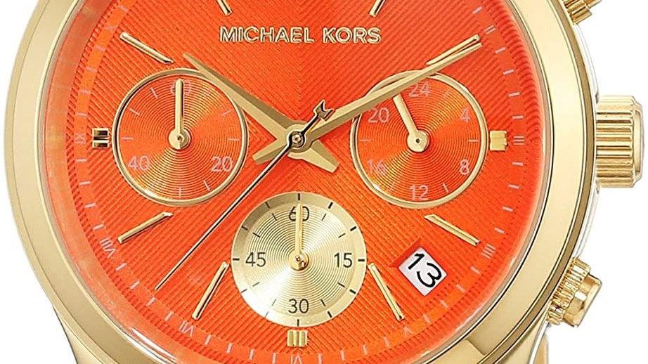 Michael Kors Orange Dial Triple Chrono