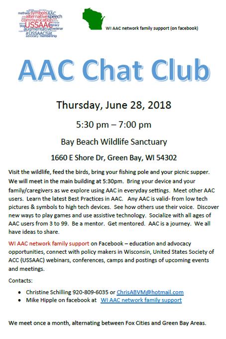 AAC Chat Club Gathering @ Bay Beach Wildlife Sanctuary