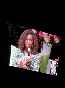 A photo of Michelle Obama, taken by Cat's Cove Communications' Cathy, at the Canadian Tire Centre for the Becoming Book Tour