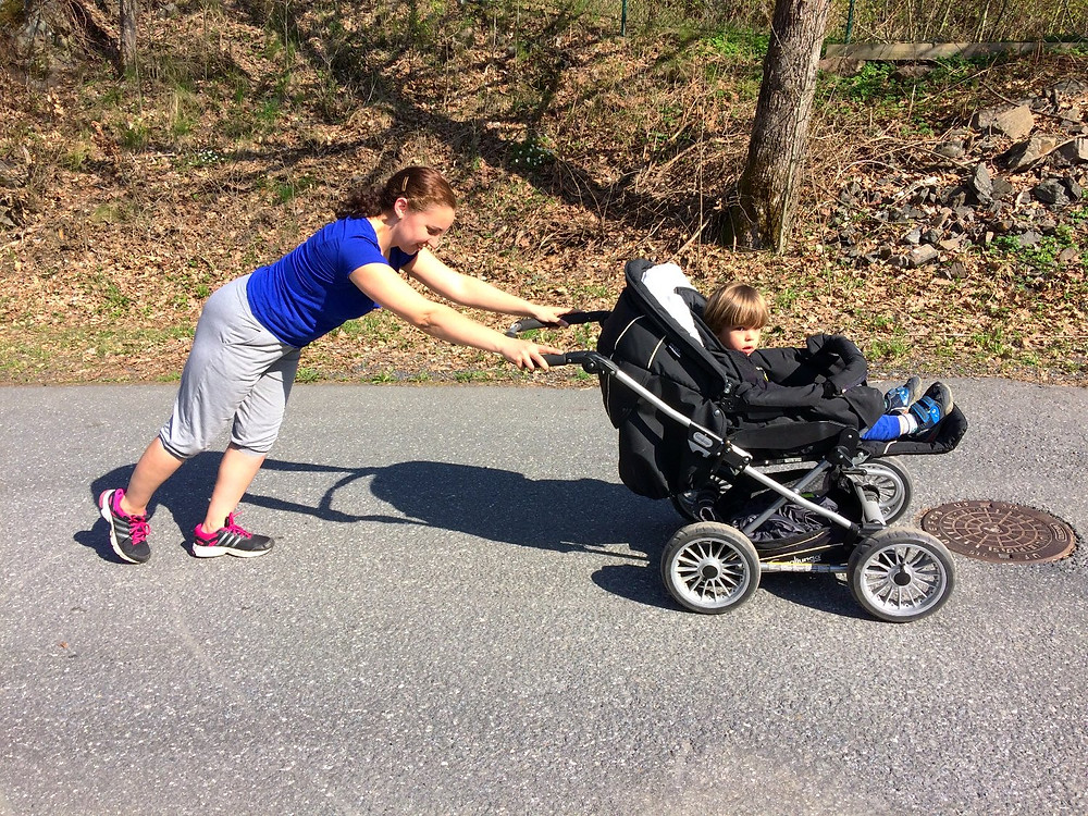 pushing too far away from stroller