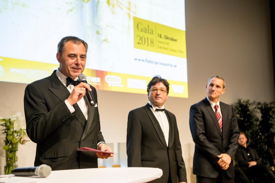 Initiatoren Dr. Eugen Otto (FIABCI), MMag. Anton Holzapfel (ÖVI) mit Hauptsponsor Stefan Dörfler (Erste Bank)