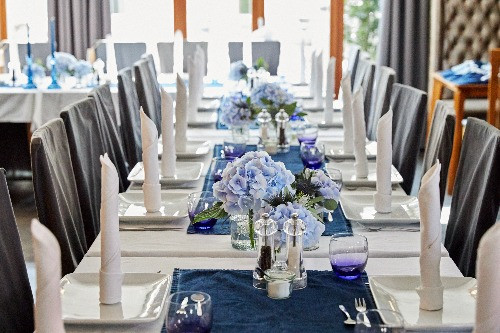 Hochzeitsdeko Jeansblau