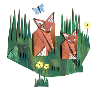 Origami foxes