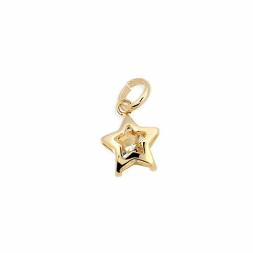 Pingente Rommanel folheado a ouro estrela com cristal - tam.único 5405960006