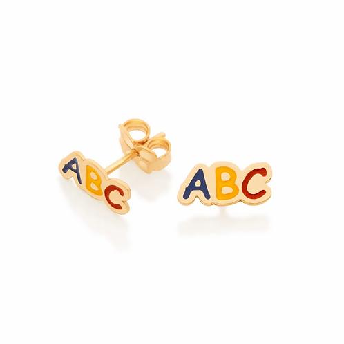 Brinco Rommanel abc folheado a ouro com aplicação de resina-colorido - 52641700