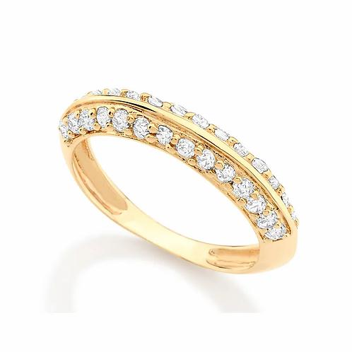 Anel Rommanel folheado a ouro com zircônias 511464