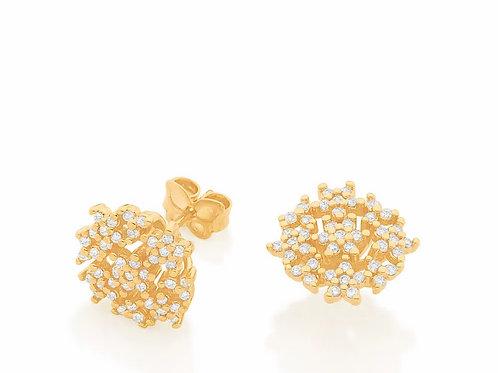Brinco redondo com flores folheado a ouro - tam.único 5265290006