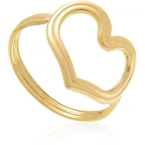 Anel folheado a ouro com coração vazado. 512346