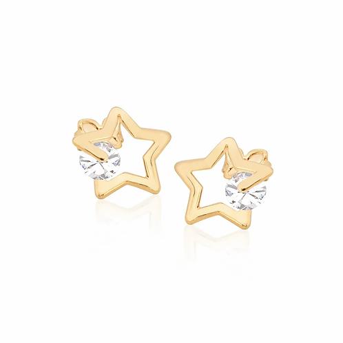 Brinco Rommanel folheado a ouro com cristais - tam.único 5245220006