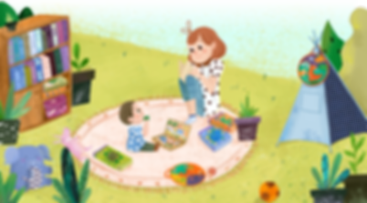 Mother and child playing with educational toys