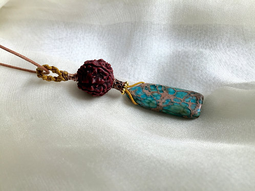 Turquoise, Rudraksha : Sold