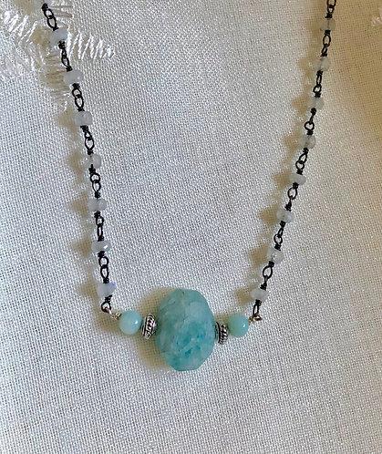 Aquamarine, Jade, Moonstone