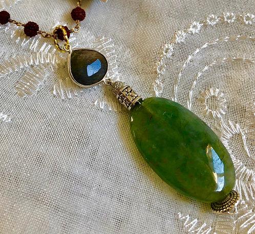 Jade, Labradorite, Rudraksha