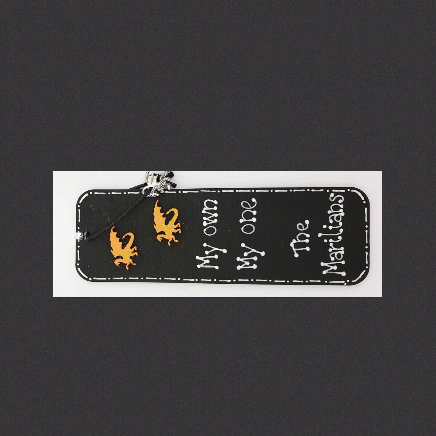 Dragon wooden bookmark quote