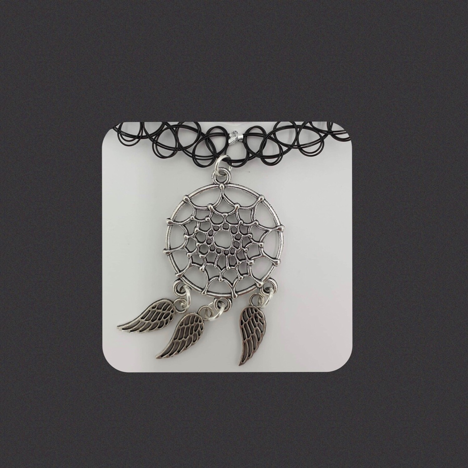 Angel wing dreamcatcher choker