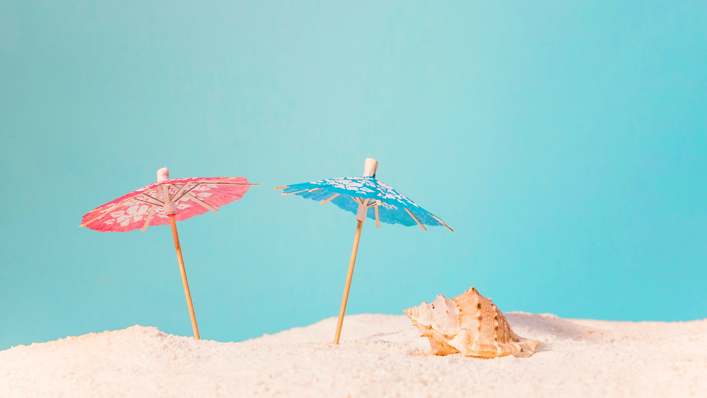 red and blue beach umbrellas