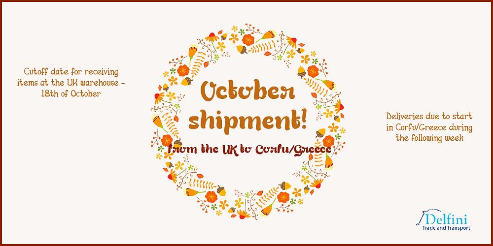 October shipment to Corfu