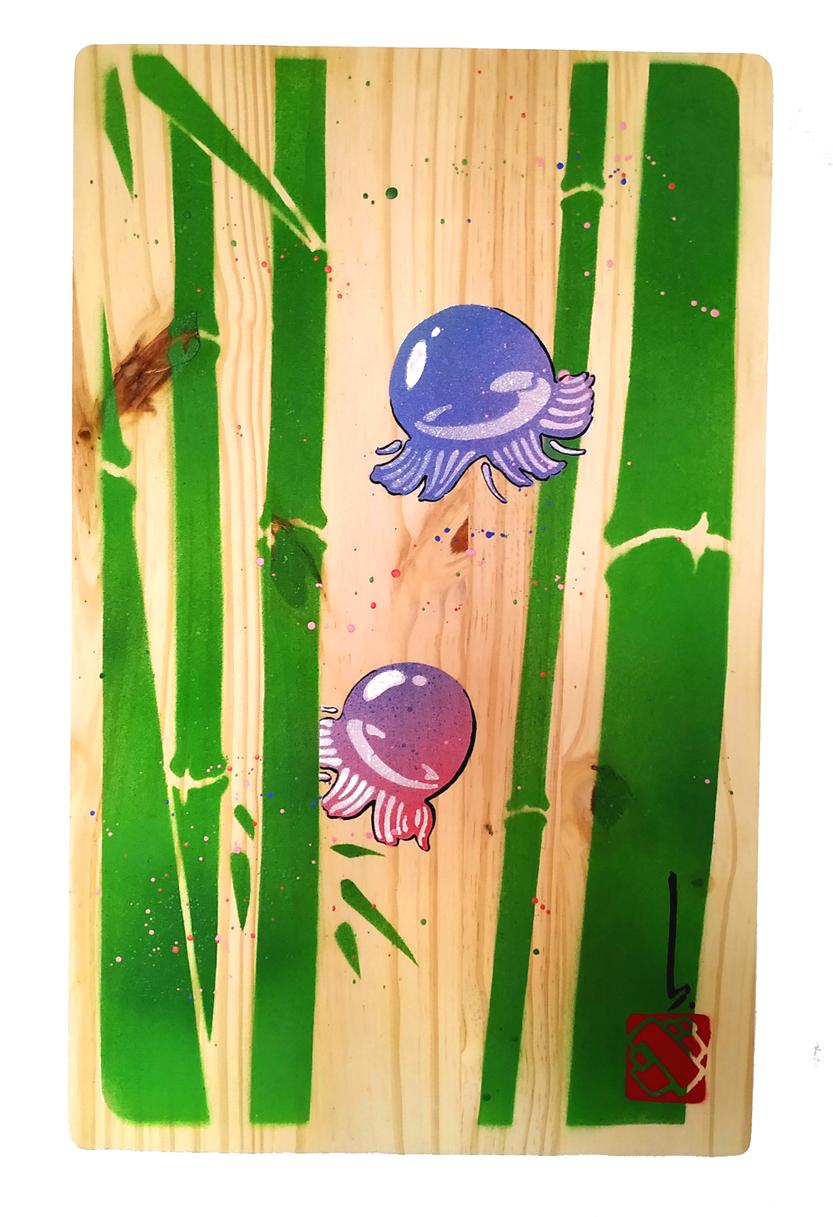 bubble meduses sur planche