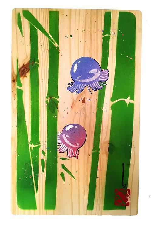 Bubble meduses dans bois de bambous