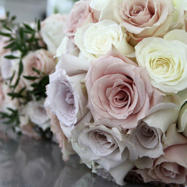 Pastel pink and grey bridal bouquet