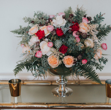 Large rose bowl side table flowers