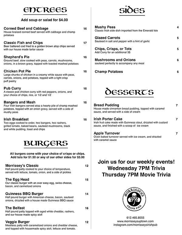MorrisseysMenu Entrees, Burgers April -2