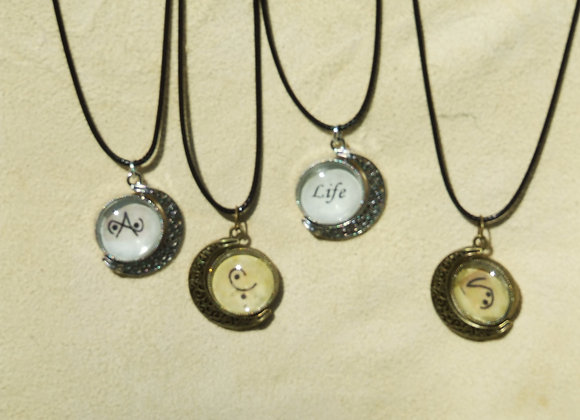 crescent moon .. moon glyph necklace please click image for more details