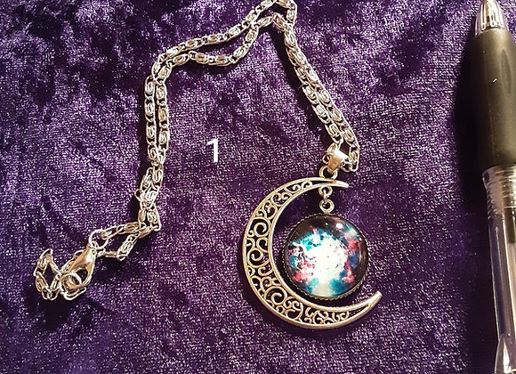 Crescent moon and disc necklace please click on image for more choices