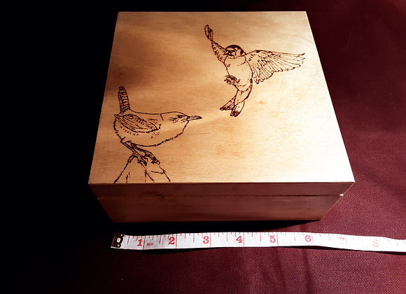 Handcrafted goldfinch and wren box by grandad