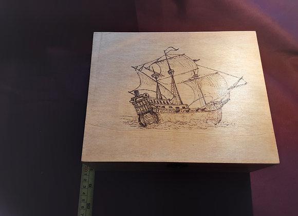 Galleon wooden box