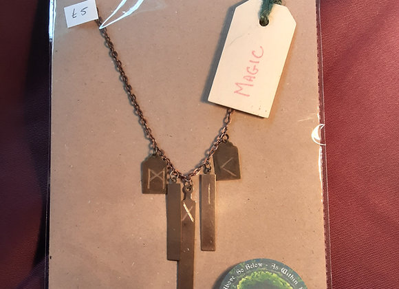 Copper 'magic' rune etched necklace crafted by grandad