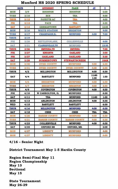 2020 Varsity Schedule