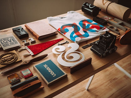 a table with classic graphic design elements