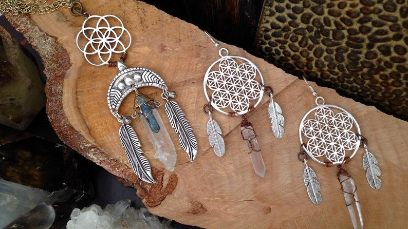 Lightworker Earrings and Necklace Set with Flower of life and Lazer Quartz Point