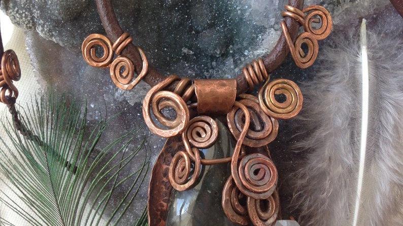Labradorite and Quartz point Copper Spiral Necklace