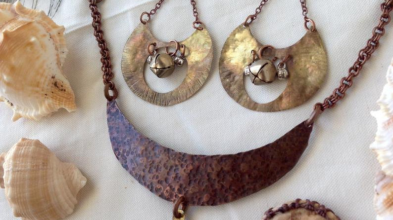 Jasper Lotus Necklace and Large Earrings Set