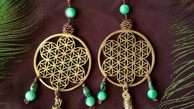 Large Flower of Life Brass Earrings with Lazer Quartz Green Jade and Emerald