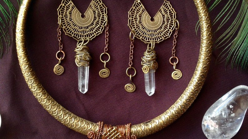 Goddess Necklace and Earrings Set with Quartz