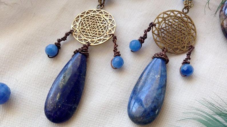 Shri-Yantra Lápis Lazuli Earrings