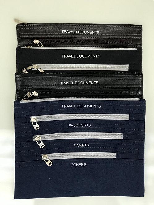 Porta passaportes com 3 zipers