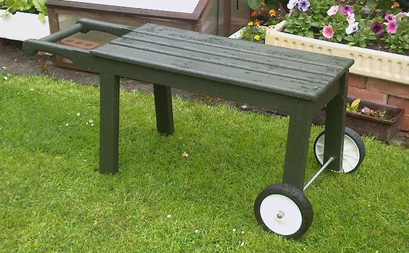Wooden garden trolley