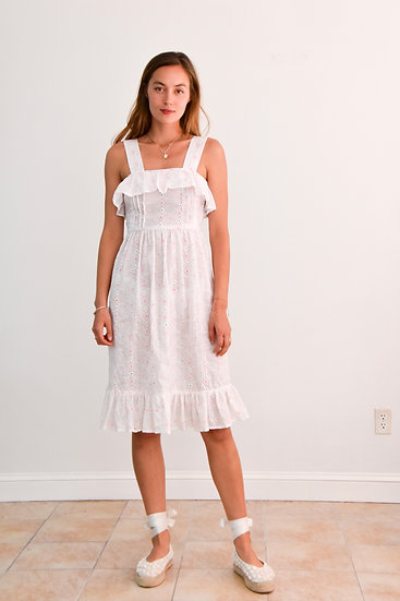 70's Cotton Eyelet Sundress