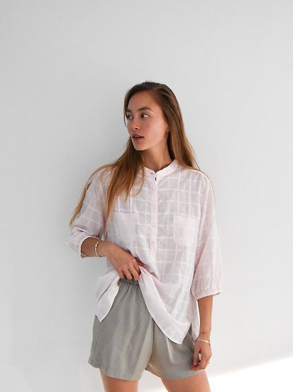 Blush Windowpane Blouse