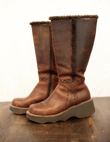 Vintage Platform Leather Boots