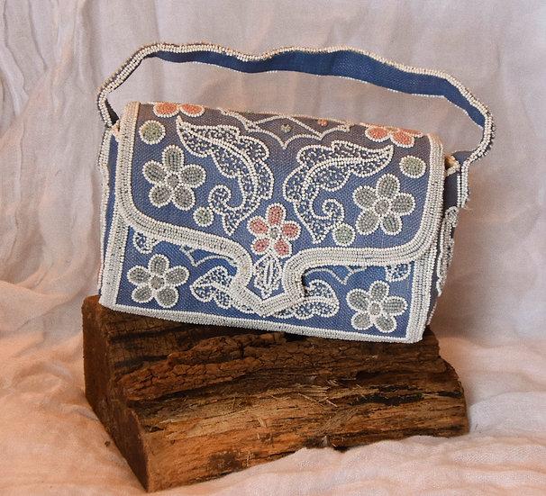 50's Beaded Straw Handbag